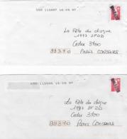 2 Enveloppes Lettre 1997 Avec Griffe Linéaire Manuelle ORLEANS Sur Marianne Du Bicentenaire Rouge (TVP) - Postmark Collection (Covers)