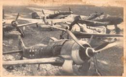 """09544 """"AEREI DA CACCIA TEDESCHI II.W.W.-RETRO TIMBRO IN INCHIOSTRO BLU_ANNULLATO_IN RUSSO CARATTERI CIRILLICI"""" ORIG - Aviazione"""
