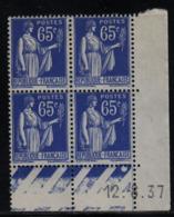 FRANCE  Coin Daté **  Type Paix 65c Bleu  Yvert 365  12.8.37  Neuf Sans Charnière - Coins Datés