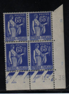 FRANCE  Coin Daté **  Type Paix 65c Bleu  Yvert 365  12.1.38  Neuf Sans Charnière - Coins Datés