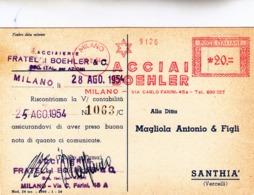 Milano, Acciaierie Fratelli Boehler, Affrancatura Meccanica Rossa Su Cartolina Postale. 1954 - Affrancature Meccaniche Rosse (EMA)