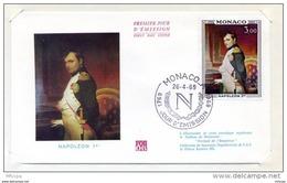 L4I034 MONACO 1969 FDC Napoléon 1er 3,00f Monaco A 26 04 1969 - Napoleón