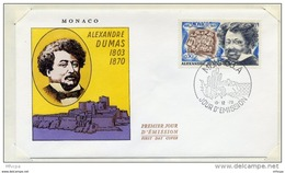 L4I084 MONACO 1970 FDC Alexandre Dumas 0,40f Monaco A 15 12 1970 - Schriftsteller