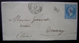 Léry (Eure) 1867 Origine Rurale Cad De Notre Dame Du Vaudreuil Gc 2689 Me Caricon Notaire  Pour Tourny - Postmark Collection (Covers)