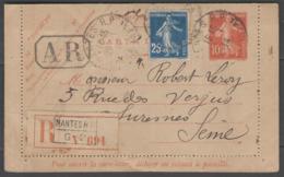 Entier Postal REC.AR Avec Complément D'affranchissement (1914) ! - Marcofilia (sobres)