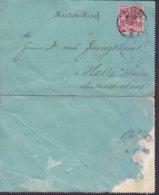 Deutsche Reichspost DESSAU 1899 Kartenbrief Zum Diakonissenhaus HALLE A. SAALE (Arr.) 10 Pf. Adler Eagle Stamp - Briefe U. Dokumente