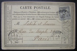 Sisteron 1877 Carte Précurseur Pour Paris - Marcophilie (Lettres)