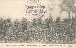 1914 MARINS FRANCAIS A TRAVERS CHAMPS CACHET CROISEUR CUIRASSE VICTOR HUGO 3 SCANS - Kriegsausgaben