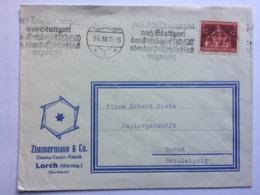 GERMANY 1936 Cover Stuttgart To Borna Illustrated `Zimmermann` Envelope - Lettres & Documents