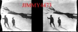 Plaque De Verre En Stéréo -TIROL - Personnages Dans La Neige à Identifier - TYROL Autriche - Scans Négatif-Positif - Diapositiva Su Vetro