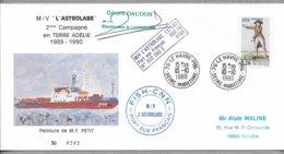 """E53 - TAAF Timbre France 10.10.1989 Le Havre. Enveloppe Illustrée,cachets De L' """"ASTROLABE"""" Signature Commandant DAUDON. - Terres Australes Et Antarctiques Françaises (TAAF)"""