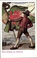 Artiste Cp Innsbruck In Tirol, Tirols Festgruß, Tiroler Landes Jahrhundertfeier 1909 - Militaria