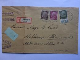 GERMANY 1938 Registered Hamburg Cover To Hellerup Denmark - Lettres & Documents
