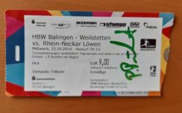 Handball Ticket DKB Bundesliga HBW Balingen Weilstetthein Neckar Lowen 15.10.2014  With Autograph Primoz Prost Germany - Match Tickets