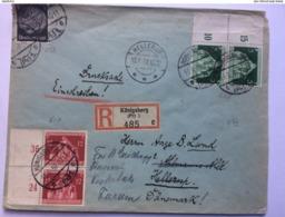 GERMANY 1936 Registered Konigsberg To Hellerup Denmark - Lettres & Documents