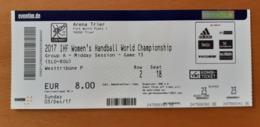 Handball Ticket IHF Slovenia : ROMANIA 3.12.2017 Women's Handball World Championship Trier - Match Tickets