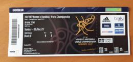 Handball Ticket IHF Germany 2017 Trier Group A Games 17&21 3.12.2017 Women's Handball World Championship - Match Tickets