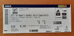Handball Ticket IHF Germany Trier Group A Paraguay : Slovenia  7.12.2017 Women's Handball World Championship Trier - Match Tickets