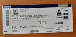 Handball Ticket IHF Germany Trier Angola : France, Paraguay : Spain 3.12.2017 Women's Handball World Championship Trier - Match Tickets