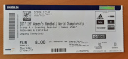 Handball Ticket IHF Germany Trier Romania : Angola, Spain : France 7.12.2017 Women's Handball World Championship Trier - Match Tickets