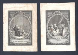 Lot De 2 Petites Gravures XVIII Siècle Dont Une Signée Dupréel - Gravures