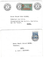 2 DOCUMENTS CACHET SUISSE AVIATION BALLON FELDPOST /FREE SHIPPING REGISTERED - Marcophilie
