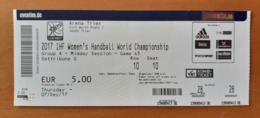 Handball Ticket IHF Germany Trier Game 43 7.12.2017 Women's Handball World Championship Trier - Match Tickets