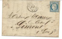 France Etoile 21 Sur LAC / YT 60A Paris R. St Antoine 18/11/71 Pour Gimont - 1871-1875 Cérès