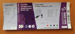 Ticket IHF Men's Handball World Championship With Autograph China : Algeria, Bosnia : Russia, Belarus : Czech 27.1.2015 - Match Tickets