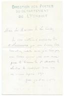 CORRESPONDANCE DE LA DIRECTION DES POSTES DU DEPARTEMENT DE L'HERAULT 1877 - Manuscrits