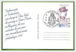 Timbres Carte Postale Entier Postal SAINT PIERRE ET MIQUELON Appel 18 Juin 1940 DE GAULLE 24 DEC 90 Fêtes Noël - De Gaulle (General)