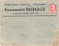 Enveloppe Etablissements Delesalle 4 Rue De Courtai Lille 59 Nord Papiers Peints Linoléum Toiles Cirées Ochin  Baisieux - 1921-1960: Période Moderne