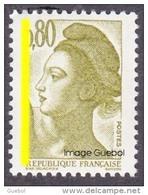 France Liberté De Gandon N° 2241,a ** Varièté - Phosphore à Gauche Sur Le 0.80 Brun Olive - 1982-90 Liberty Of Gandon