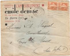 Enveloppe Emile Denise 34 Rue Victor Hugo Le Havre 76 Seine Maritime Ameublement - 1921-1960: Période Moderne