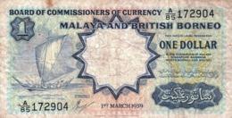 "MALAYA & BRITISH BORNEO 1 DOLLAR 1959 F P-8A ""free Shipping Via Registered Air Mail"" - Billets"