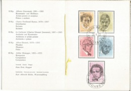 SUIZA 1972 DOCUMENTO SELLOS GIACOMETTI LE CORBUSIER EISNTEIN HONEGGER RAMUZ NOBEL - Celebridades