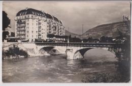 CARTE PHOTO DE GENEVE : QUAI CAPO D'ISTRIA N° 9 - LE PONT D'ARVE ET L'ARVE - AU FOND LE SALEVE -z 2 SCANS Z - GE Geneva
