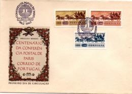 Conferencia Postal De Paris 1963 - FDC Lisboa - Conférence Postale De Paris - Calèche Malle-poste - FDC