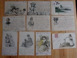 Lot De 10 CPA Fantaisie - Type Précurseur / Dos Simple 1901 à 1903 - Femmes - Couples - Enfants - Paysage - (n°16098) - Fantaisies