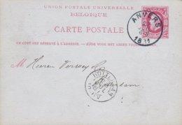 Belgium UPU Postal Stationery Ganzsache Entier 10c. Leopold ANVERS 1881 ROTTERDAM (Arr.) Netherlands - Stamped Stationery