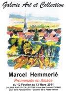 """Affiche Exposition De Marcel HEMMERLE """"Promenade En Alsace"""" Ft 32 X 45 Cm - Aquarelles"""