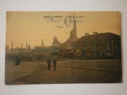 62 Noeux Les Mines, Place De La Gare. Carte Colorisée Toilée (A6p21) - Noeux Les Mines