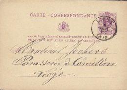 Belgium Postal Stationery Ganzsache Entier Carte-Correspondance LIEGE 1878 Brasserie De Cornillon LIEGE - Stamped Stationery