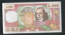 """Billet De Banque Fantaisie De 5000F (années 60) """"Ceci Est Un Faux Billet / Business"""" - Specimen"""