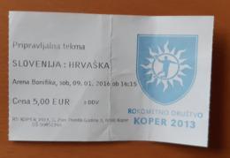 Ticket Handball Preparatory Match Slovenia : Croatia Bonifika Koper  9.1.2016 - Match Tickets