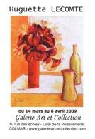 Affiche Exposition De Huguette LECOMTE à Colmar Ft 32 X 45 Cm - Acryliques