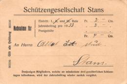 Schweiz Stans Nidwald - Schützengesellschaft - Nachnahme - 1933 - Eintrittskarten