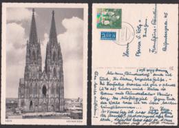 Jugendmarke 1052 10+2 Pfg. Jugendherberge Auf Ak Kölner Dom 7.10.52, BRD 153 Mit Notopfermarke - BRD