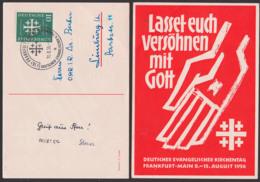 Evangelischer Kirchentag 1956 10 Pfg. BRD 235 SoSt. Frankfurt (Main) Auf Schmuckkarte In Rot, Lasset Euch Versöhnen Mit - BRD