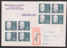 Ignaz Semmelweis 25 Pfg. DDR 1389(8), Portogenau Auf R-Brief Bischofswerda Nach Gablenz, Arzt Und Geburtshelfer - [6] Repubblica Democratica